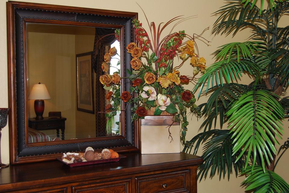 framed mirror flowers vase large potted plant