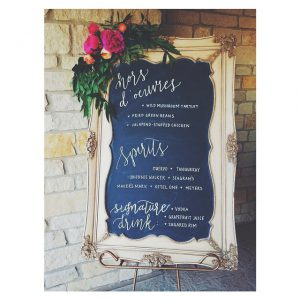 framed chalkboard menu